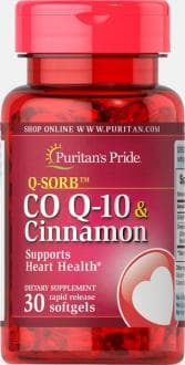 Коэнзим Q10 120 мг,экстракт корицы 1000 мг, Puritan's Pride, Q-SORB Co Q-10 120mg & Cinnamon