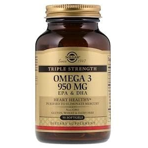 Рыбий жир Солгар, Омега 3 (Omega-3 EPA, DHA, Triple Strength), Solgar, 950 мг