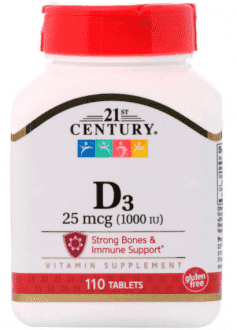 Витамин D3 25 mcg (1000 IU) от 21st Century