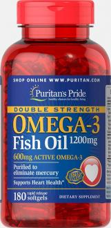 Омега-3 рыбий жир, Double Strength Omega-3 Fish Oil, Puritan's Pride, 1200 мг